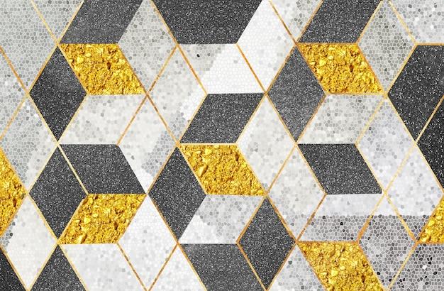Geometrische schwarze und goldene würfel der abstrakten tapete 3d im mosaikhintergrund für wandwohnkultur