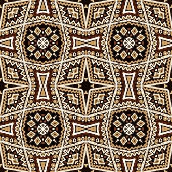 Geometrische stickerei. brauner hippie-vintage-hintergrund. herbst nahtlose muster.