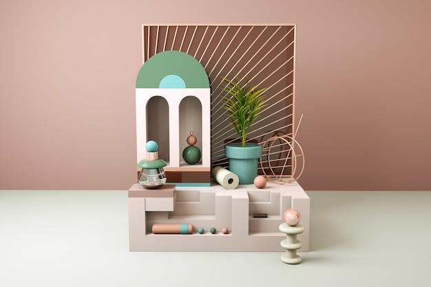 Geometrischer abstrakter hintergrund mit sofa und blume für produktanzeige