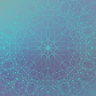 Geometrischer abstrakter hintergrund mit verbundenen linien und punkten. futuristisches technologiedesign, illustration.