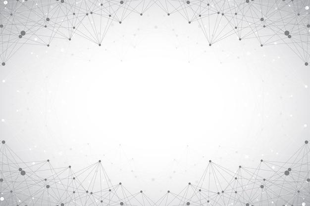 Geometrischer abstrakter hintergrund mit verbundener linie und punkten. big-data-zusammensetzung. molekül- und kommunikationshintergrund. grafische illustration für ihr design und ihren text.