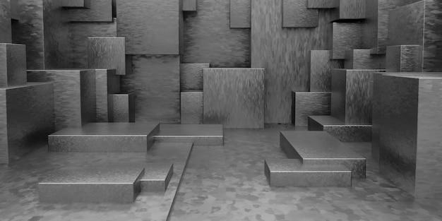 Geometrischer abstrakter quaderförmiger tapeten-hintergrund 3d