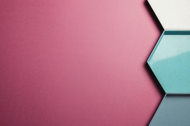 Geometrischer bunter hintergrund des abstrakten hexagons. pastellfarben minimalismus. raumbanner kopieren