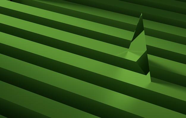 Geometrischer dreieckiger spiegel über einem grünen streifen. abstraktes hintergrundkonzept, 3d-rendering