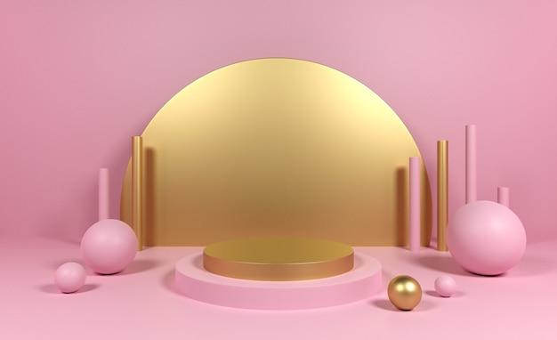Geometrischer figurenzylinder des 3d podiums, kugelrosa goldene farben