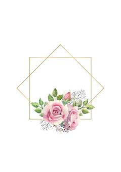 Geometrischer goldrahmen mit aquarellblumen