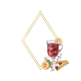 Geometrischer goldrahmen mit einem glas glühwein, zitrone und winterdcor. aquarellillustration