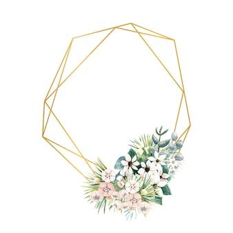 Geometrischer goldrahmen mit kleinen blüten von actinidia, bouvardia, tropen- und palmblättern