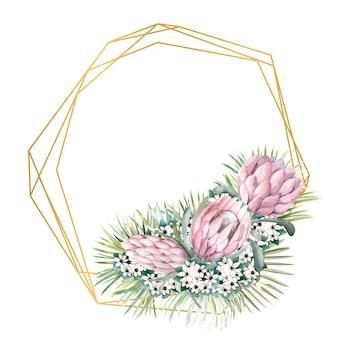 Geometrischer goldrahmen mit protea-blüten, tropischen blättern, palmblättern, bouvardia-blüten