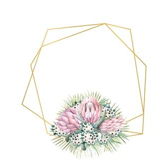 Geometrischer goldrahmen mit proteablüten, tropischen blättern, palmblättern, bouvardiablüten