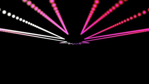 Geometrischer hintergrund hell leuchtende rosa strahlen gehen in die ferne