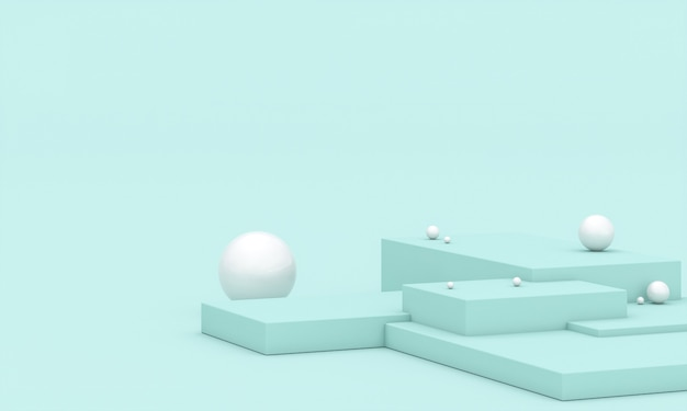 Geometrischer hintergrund mit podium und weißen kugeln