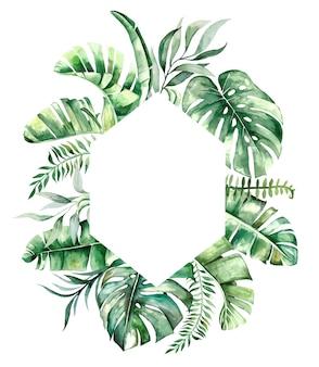 Geometrischer rahmen des tropischen aquarellblatts