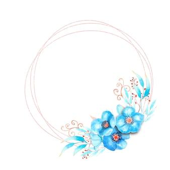 Geometrischer rahmen mit blauen nieswurzblumen, knospen, blättern, dekorativen zweigen auf weißem, isoliertem hintergrund. blumenstrauß am unteren rand des rahmens. aquarellillustration.