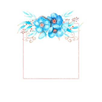 Geometrischer rahmen mit blauen nieswurzblumen, knospen, blättern, dekorativen zweigen auf weißem, isoliertem hintergrund. blumenstrauß oben. aquarellillustration.