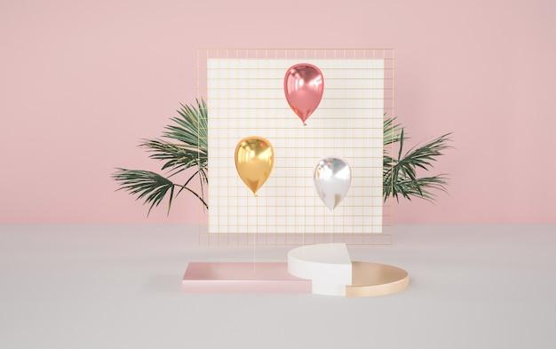 Geometrischer sockel mit ballon für produktständer