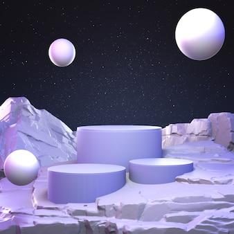 Geometrischer stein- und felsenformhintergrund der abstrakten pastellfarbe, minimalistisch für podiumanzeige oder -schaufenster, 3d-darstellung.