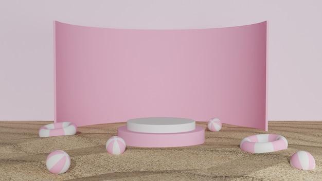 Geometrisches 3d-podium für produktdisplay-sommerhintergrund