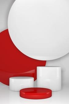 Geometrisches 3d-podium in rot und weiß. vertikale szene bühnenschaufenster für neues produkt, verkaufsförderung, präsentation, kosmetik. mit kopierplatz