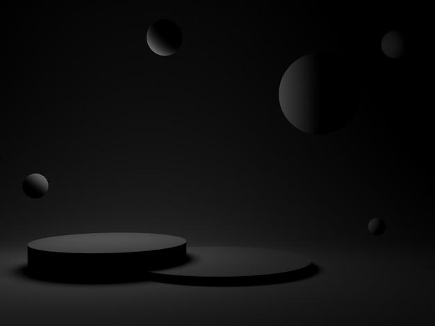 Geometrisches 3d-podium in schwarz. dunkler hintergrund.