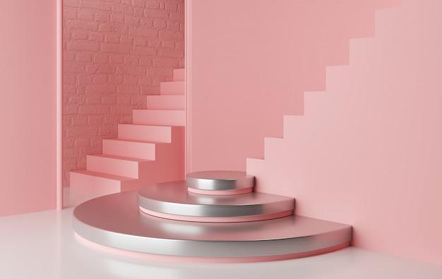 Geometrisches formpodest der abstrakten rosa farbe