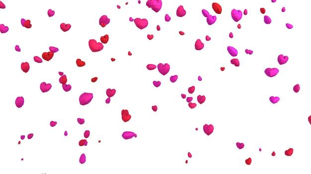 Geometrisches herz des niedrigen poly poly, das vom himmel auf weißem hintergrund fällt, valentinstagkonzept, eleganter liebesgrußkartenhintergrund