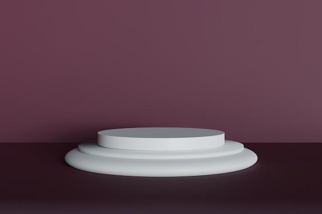 Geometrisches minimalistisches podium 3d mit purpurrotem kastanienbraunem hintergrund