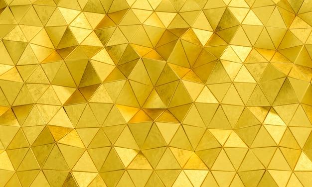 Geometrisches muster mit dreieckigen formen aus goldfarbenem metall.