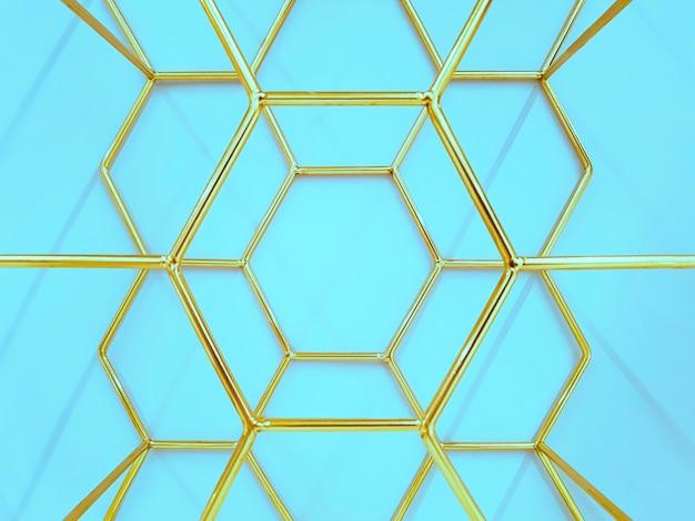 Geometrisches muster von sechsecken aus metall in goldfarbe auf blau. konzept, abstraktion