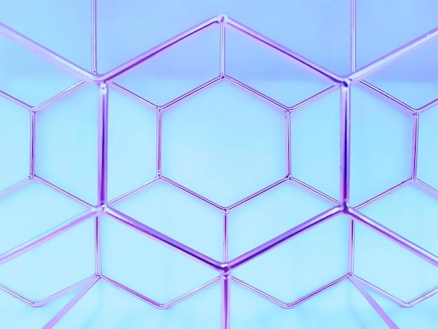 Geometrisches muster von sechsecken aus metall in lila auf blau. konzept, abstraktion