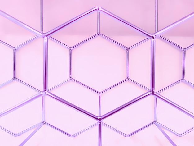 Geometrisches muster von sechsecken aus metall in lila auf einem rosa. konzept, abstraktion