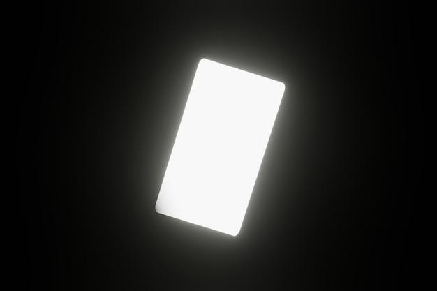Geometrisches smartphone mit einem leeren weißen bildschirm-led-leuchtlicht auf 3d-rendering mit schwarzem hintergrund