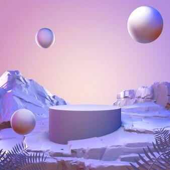 Geometrisches stone and rock minimalistisches modellpodest der abstrakten violetten farbe für produkt.
