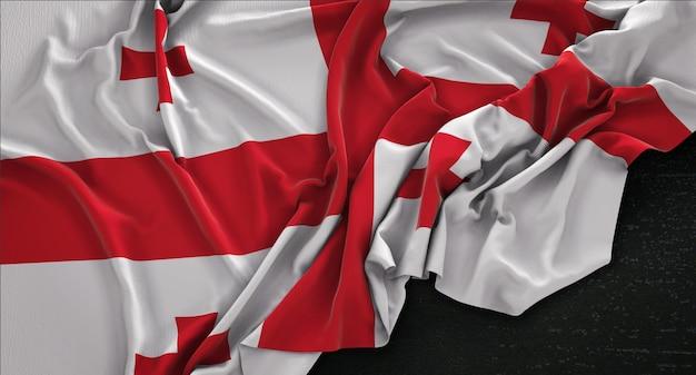 Georgia-flagge, die auf dunklem hintergrund verstreut ist 3d render