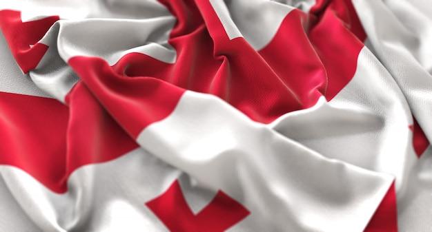 Georgia flagge gekräuselt winken makro nahaufnahme shot