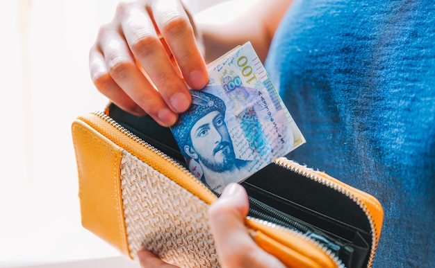 Georgische lari und geldbörse