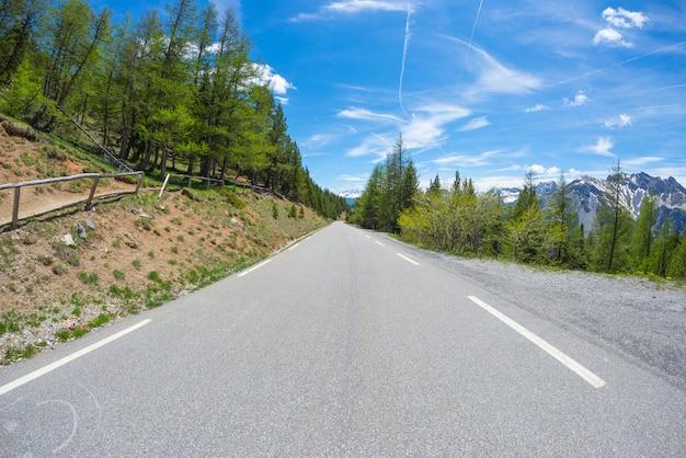Gepflasterte straßenüberfahrtberge und -wald in der szenischen alpinen landschaft und im schwermütigen himmel