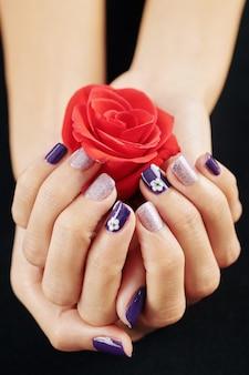 Gepflegte hände mit rosenblüte