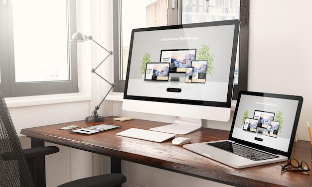 Geräte mit reaktionsschnellem webdesign-desktop-3d-rendering