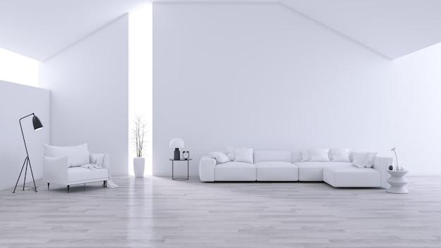 Geräumiges modernes und minimalistisches wohnzimmer, schwarz-weißes interieur