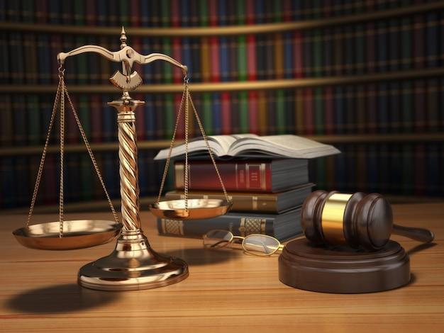 Gerechtigkeitskonzept. hammer, goldene schuppen und bücher in der bibliothek mit dof-effekt. 3d