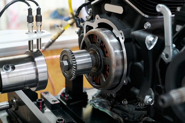 Geringe tiefenschärfe getriebe von einem boxer motorrad motor
