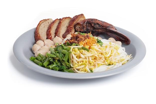 Geröstete entennudeln mit fleischbällchen isoliert, asiatische küche.