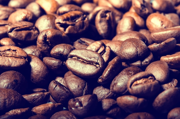 Geröstete kaffeebohnen close up
