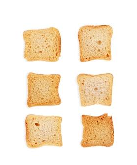 Geröstetes brot italienische bruschetta-toasts isoliert auf weißem hintergrund