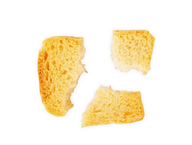 Geröstetes brot italienische bruschetta toasts isoliert auf weißem hintergrund