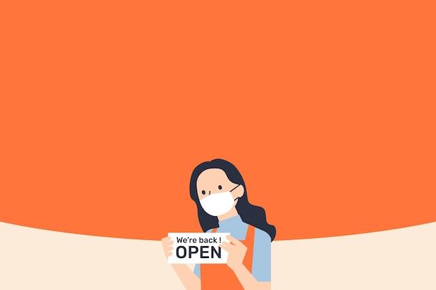 Geschäft geöffnet während des orangefarbenen hintergrunds der covid-pandemie