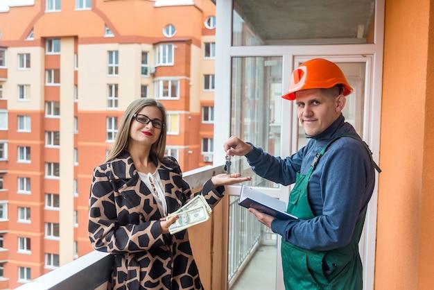 Geschäft mit dem kauf einer wohnung in einem neuen haus