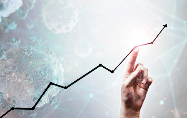 Geschäft zunehmende pfeil und hand