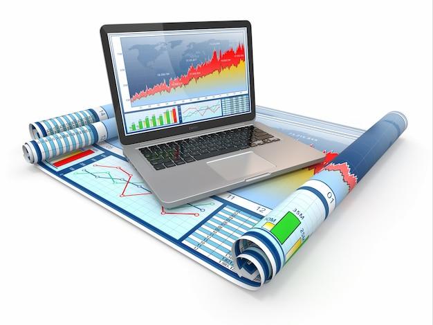 Geschäftsanalyse. laptop, grafik und diagramm.